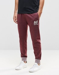 Abercrombie And Fitch Cuffed Joggers 'Af New York' Burgundy Marl Port Royale Red