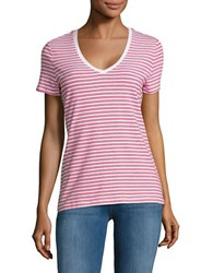 Lord And Taylor Petite Striped Scoopneck T Shirt Pink