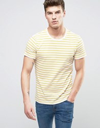 United Colors Of Benetton T Shirt In Stripe Mustard 75Z Yellow