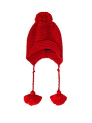 Gucci Pompom Ribbed Knit Beanie Hat Red
