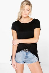 Boohoo Lace Up Side T Shirt Black