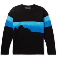 The Elder Statesman Intarsia Cashmere Sweater Blue