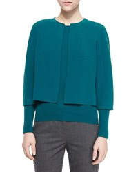 Michael Kors Cropped Stretch Wool Crewneck Jacket Peacock