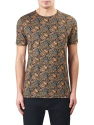 Pretty Green Gretton Paisley T Shirt Grey Red Yellow
