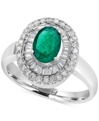 Effy Collection Emerald 3 4 Ct. T.W. And Diamond 1 2 Ct. T.W. Ring In 14K White Gold