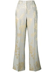 Dondup Printed Straight Leg Trousers Grey