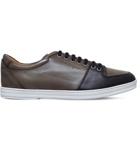 Salvatore Ferragamo Florido Two Tone Leather Trainers Black