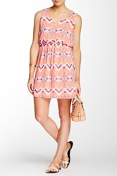 Pink Owl Chevron Print Chiffon Dress Pink