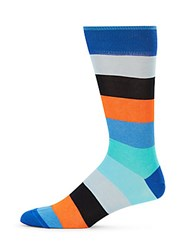 Saks Fifth Avenue Made In Italy Colorful Multistripe Cotton Crew Socks Light Blue