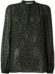 Michael Michael Kors Leopard Print Band Collar Blouse Green