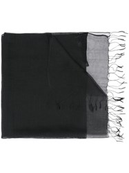 Emporio Armani Long Fringed Scarf Black
