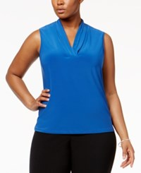 Anne Klein Plus Size Pleated Shell Bluebell