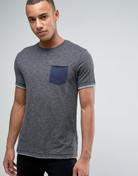 Esprit T Shirt With Crew Neck And Contrast Pocket Grey 030