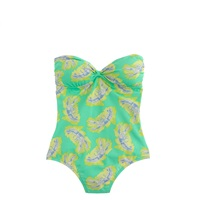 J.Crew Rock Lobster Bandeau One Piece Swimsuit Neon Green Blue
