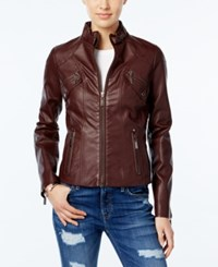 Joujou Jou Jou Faux Leather Moto Jacket Walnut