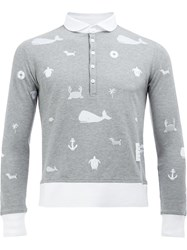 Thom Browne Long Sleeve Polo Shirt Grey