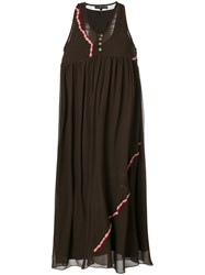 Jupe By Jackie Embroidered Detail Dress Silk Brown