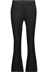 Derek Lam 10 Crosby Cropped Linen Blend Twill Bootcut Pants Black