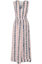 Carven Pleated Floral Print Crepe De Chine Maxi Dress Multi