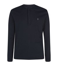 Allsaints Mesa Long Sleeve Henley T Shirt Male Blue