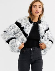 Urbancode Faux Fur Mix Coat In Snow Leopard White