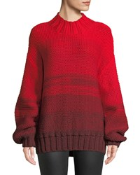Elizabeth And James Reve Degrade Wool High Neck Sweater Red Pattern