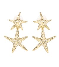 Oscar De La Renta Crystal Embellished Starfish Earrings Gold