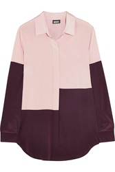 Dkny Color Block Silk Shirt Pink