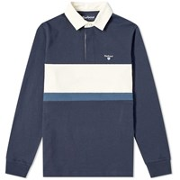 Barbour Weston Panel Rugby Shirt Blue