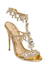 Marchesa Crystal And Gold Leather Grace Sandal