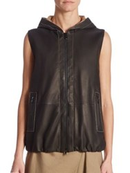 Brunello Cucinelli Leather Hooded Vest