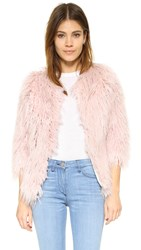 Pam And Gela Faux Fur Coat Pink