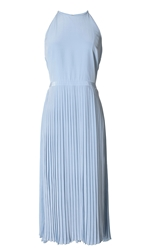 Tibi Silk Pleated Halter Dress