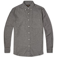 Beams Plus Button Down Solid Flannel Shirt Grey