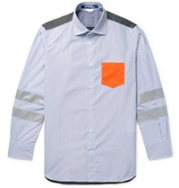 Junya Watanabe Panelled Cotton Poplin And Ripstop Shirt Blue