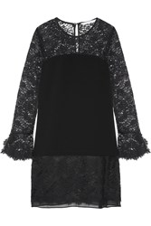 Diane Von Furstenberg Lavana Silk Chiffon Trimmed Lace And Crepe Mini Dress Black