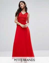 Yumi Petite Maxi Dress With Lace Overlay Top Red