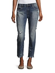 Blank Nyc Distressed Boyfriend Ankle Jeans Thrift Blue