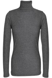 Duffy Ribbed Stretch Jersey Turtleneck Top Anthracite