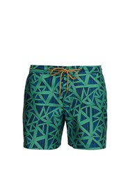 Thorsun Shatter Print Titan Fit Swim Shorts Green