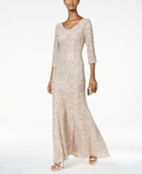 Alex Evenings Sequined Floral Lace Gown Champagne Ivory