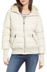 Guess Women's Oversize Hooded Puffer Jacket With Knit And Faux Shearling Trim Pearl