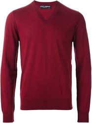 Dolce And Gabbana V Neck Sweater Red