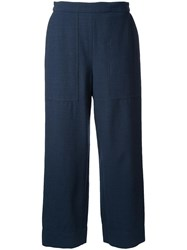Christophe Lemaire Cropped Trousers Blue