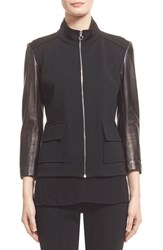 Women's St. John Collection Nappa Leather And Milano Knit Jacket