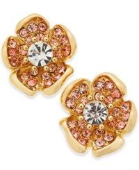Charter Club Gold Tone Multi Stone Flower Stud Earrings Created For Macy's