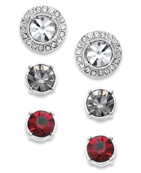Charter Club Silver Tone Interchangeable Crystal Jacket And Multicolor Crystal Stud Earring Set No Color