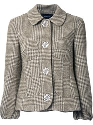 Simone Rocha Houndstooth Tweed Jacket Green