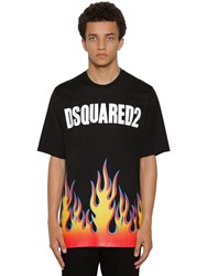 Dsquared Printed Slouch Cotton Jersey T Shirt Black