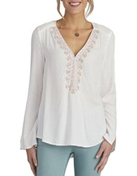 Democracy Long Sleeve Embroidered Top Natural